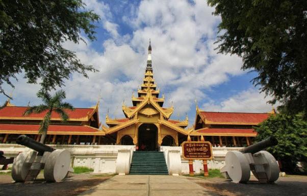 Visiting the Royal Palace in Mandalay, Myanmar